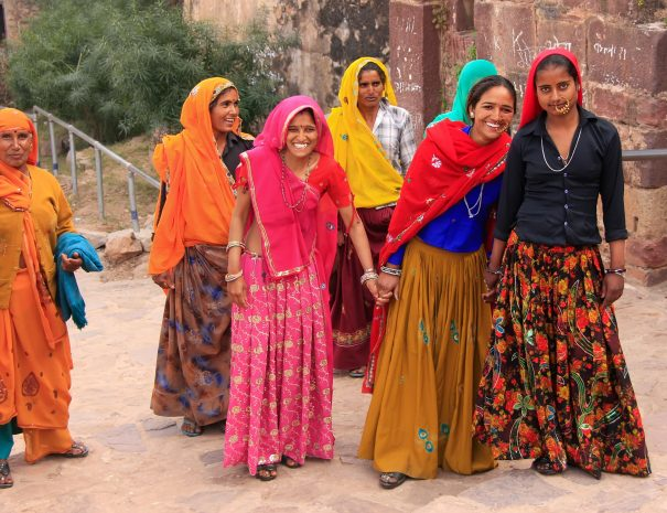 Local ladies in colourful dress at Ranthambhore Fort, Rajasthan